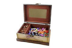 Open wooden box with jewelry Royalty Free Stock Photography