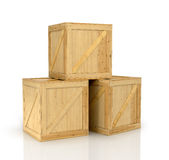 Open wooden box Stock Photos