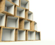 Open wooden boxes on stack, background Royalty Free Stock Photos
