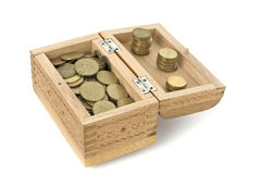 Open Wooden Casket with coins Royalty Free Stock Photography