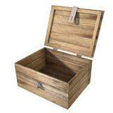 Open Wooden Chest. A rough wooden planked box with an open lid on hinges with an attached hasp on an isolated background Stock Photography