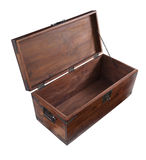 Open wooden chest seen from above Stock Photos