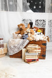 Open wooden chest with toys Stock Image