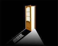 Open wooden door on black stock illustration