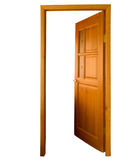Open wooden door isolated Stock Images