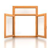 Open wooden double window opened Stock Image