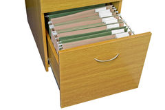 Open wooden filing cabinet Stock Images