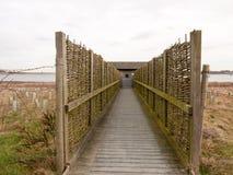 Open wooden plank walkway bird hide nature reserve. Essex; england; uk Royalty Free Stock Photos
