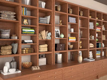 Open wooden shelves with different filling. Royalty Free Stock Image