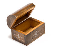 Open wooden stash. Wooden stash with silver details Stock Photo
