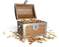 Open wooden treasure chest with golden coins. Stock Photography