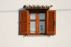 Open wooden window Stock Photo