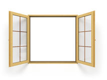 Open wooden window  close up Royalty Free Stock Photos