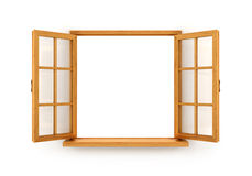 Open wooden window. Isolated on white background Royalty Free Stock Photos