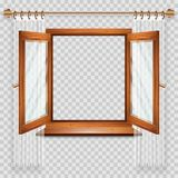 Open window. Open wooden window with transparent glass and curtains. Design element. Vector illustration royalty free illustration