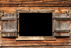 Open wooden window for use as a billboard Stock Images