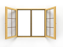 Open wooden window  on white Royalty Free Stock Photos