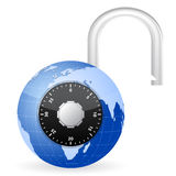 Open world globe padlock Royalty Free Stock Image