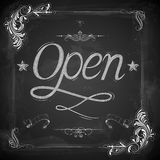 Open written on chalkboard Royalty Free Stock Photo