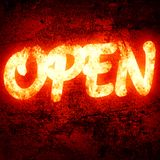 Open. Written on a glowing red background Stock Images