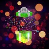 Open Xmas box with confetti on bokeh background. Vector. Illustration Stock Photos
