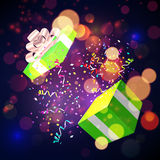 Open Xmas box with confetti on bokeh background. Vector Royalty Free Stock Photos