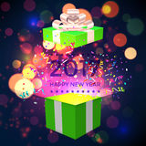 Open Xmas box with confetti on bokeh background. Vector Royalty Free Stock Photo