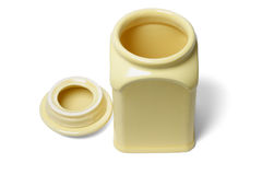 Open yellow ceramic container Stock Images