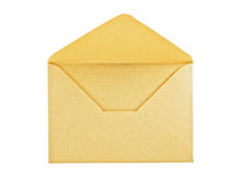 Open yellow envelope. On white background, close up, studio shot Royalty Free Stock Images
