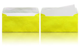 Open yellow envelope with blank letter Royalty Free Stock Photos