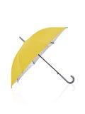 Open yellow umbrella isolated Stock Photography