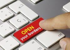 Open your borders - Inscription on Red Keyboard Key