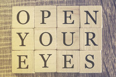Open Your Eyes message Royalty Free Stock Image