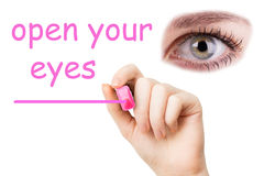 Open your eyes, pink marker Stock Photo