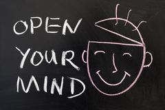 Open your mind. Concept chalk drawing on the blackboard Royalty Free Stock Photos