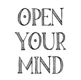 Open your mind label. On white background vector illustration