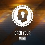 Open Your Mind Slogan on Triangle Background. Stock Photography