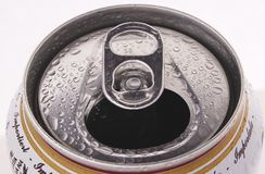 Open your mouth. Open can with water drops Stock Photos