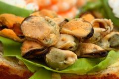 Open zeevruchtensandwich royalty-vrije stock afbeeldingen