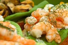 Open zeevruchtensandwiches - praw Stock Foto
