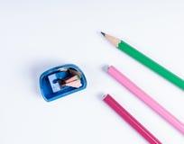 Open zensieren Bleistiftspitzer und Bleistifte Stockbild