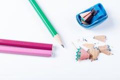 Open zensieren Bleistiftspitzer und Bleistifte Lizenzfreie Stockbilder