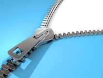 Open zipper. Mettalic zipper opening over white background - 3d render Royalty Free Stock Images