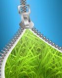 Open zipper on grass Royalty Free Stock Photo
