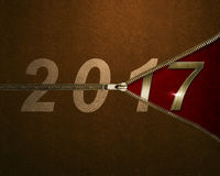 Open the zipper on number 2017 background. New Year Concept Stock Images
