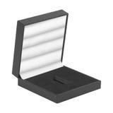 Open zwarte giftdoos die op wit wordt geïsoleerdB Stock Foto