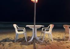 Openair Beach Restaurant Sea View at night Stock Photography
