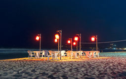Openair Beach Restaurant Sea View at night Royalty Free Stock Images