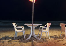 Openair Beach Restaurant Sea View at night Stock Photography