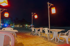 Openair Beach Restaurant Sea View at night Stock Photo